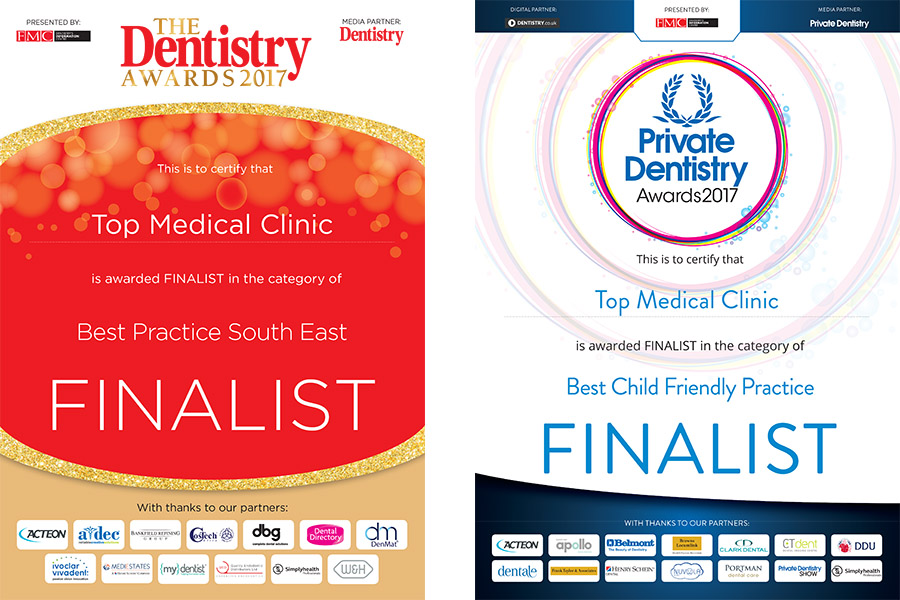Dentistry Awards and Private Dentistry Awards of 2017 finalists as BEST PRACTICE SOUTH EAST and BEST CHILD FRIENDLY PRACTICE !