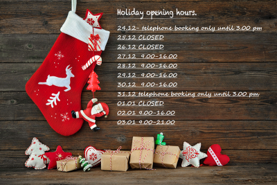 Holiday opening hours!